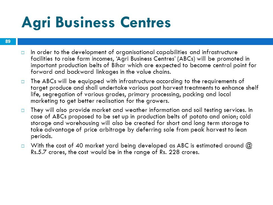 Agri Business Centres