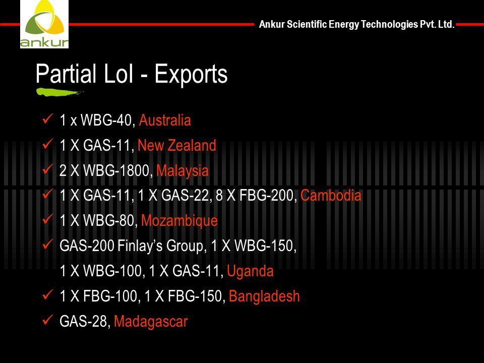 Partial LoI - Exports 1 x WBG-40, Australia 1 X GAS-11, New Zealand