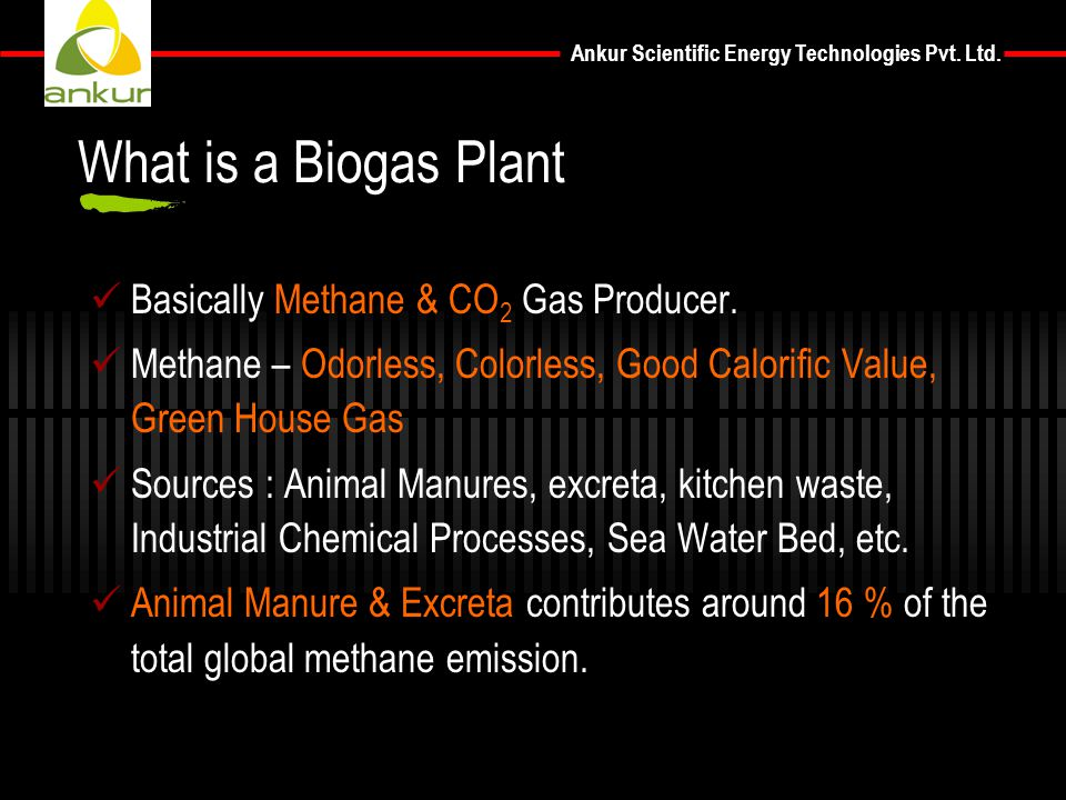 What is a Biogas Plant Basically Methane & CO2 Gas Producer.
