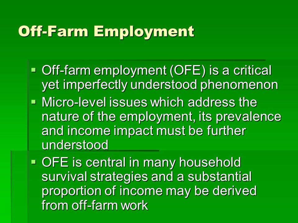 Off-Farm Employment Off-farm employment (OFE) is a critical yet imperfectly understood phenomenon.