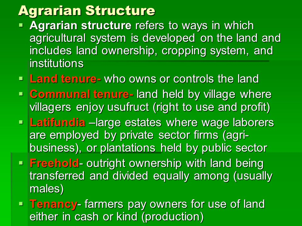Agrarian Structure