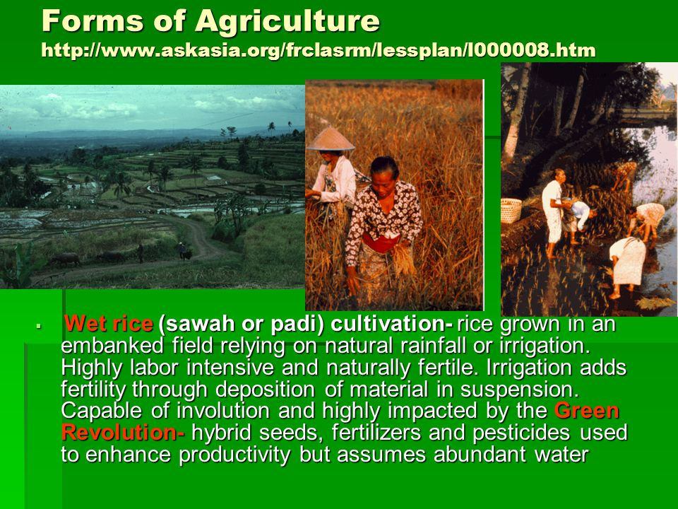 Forms of Agriculture http://www.askasia.org/frclasrm/lessplan/l000008.htm