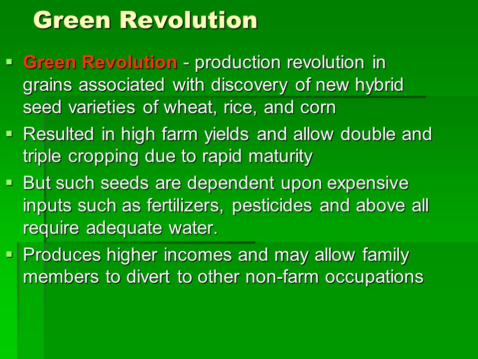 Green Revolution Green Revolution - production revolution in grains associated with discovery of new hybrid seed varieties of wheat, rice, and corn.