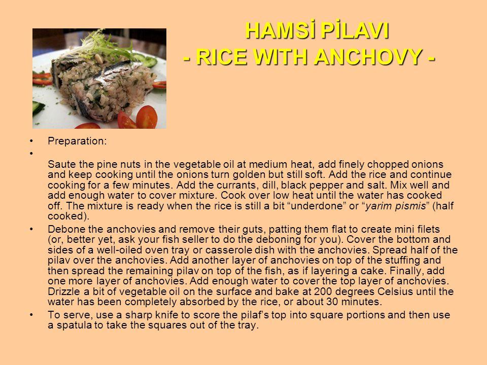 HAMSİ PİLAVI - RICE WITH ANCHOVY -
