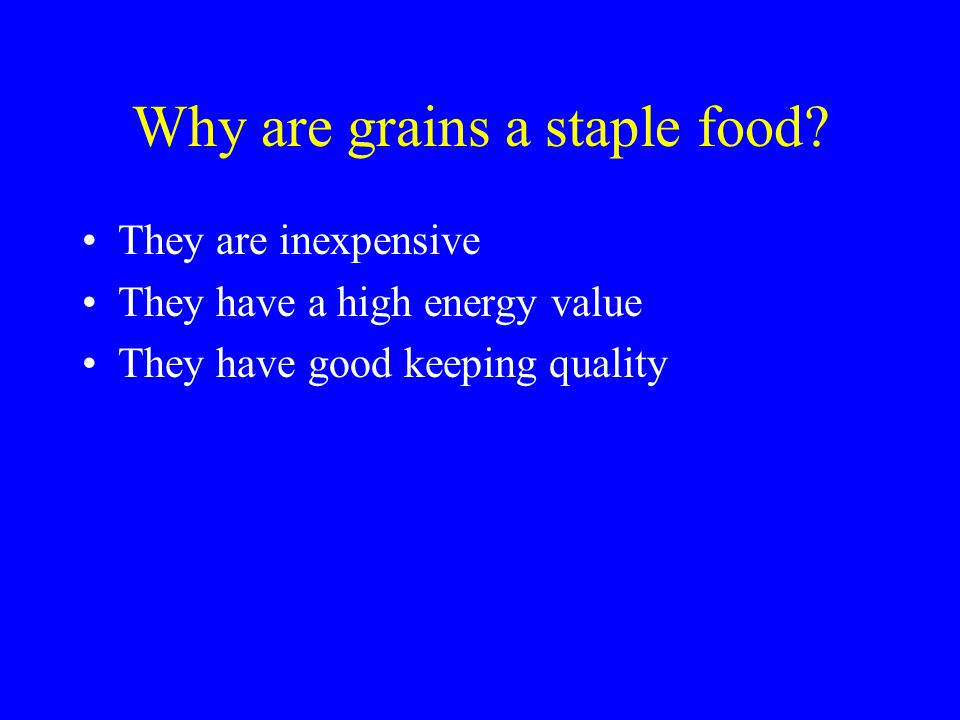 Why are grains a staple food