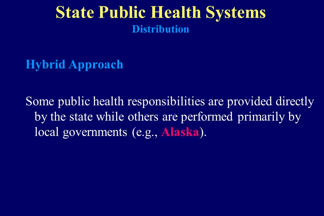 State Public Health Systems Distribution