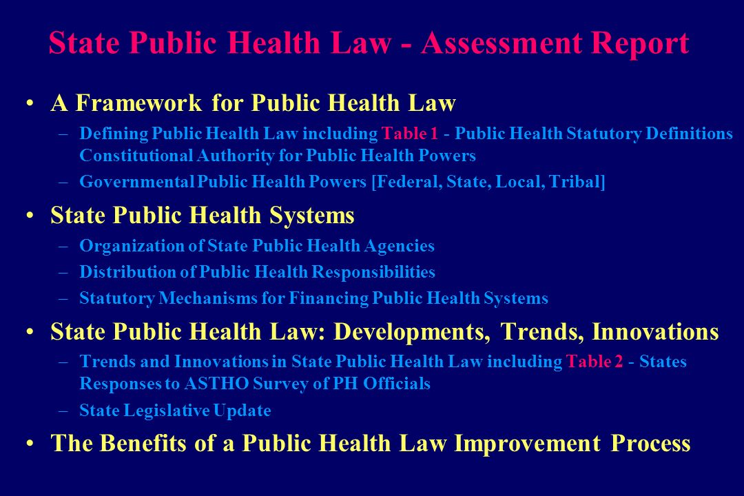 State Public Health Law - Assessment Report