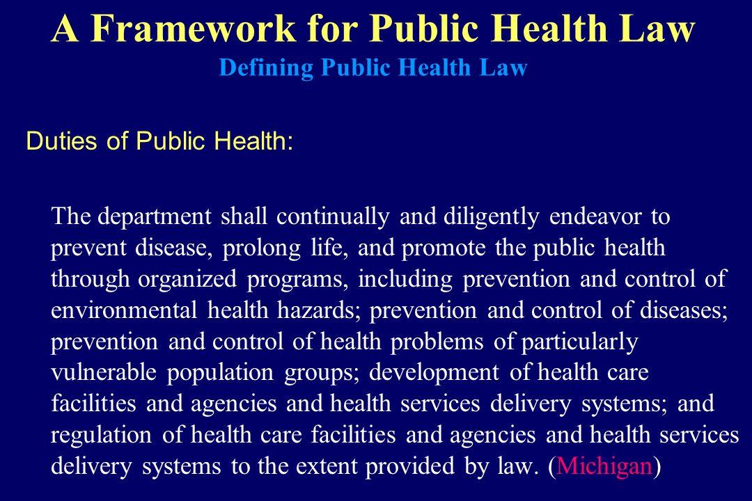 A Framework for Public Health Law Defining Public Health Law