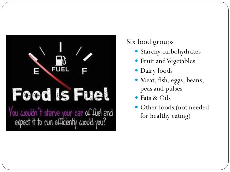 Six food groups Starchy carbohydrates Fruit and Vegetables Dairy foods