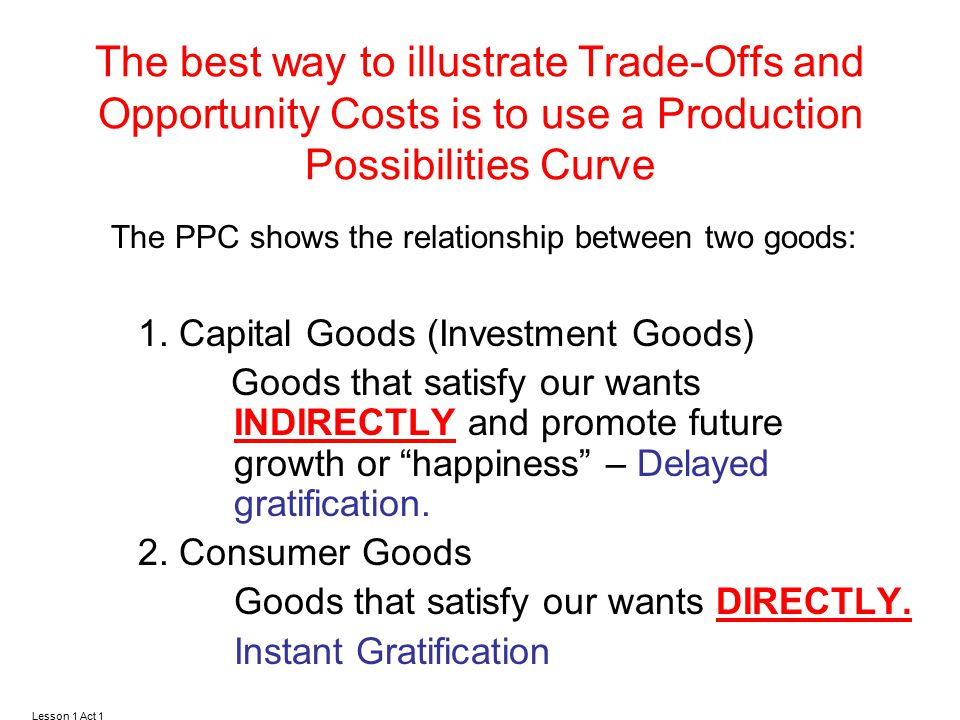 The PPC shows the relationship between two goods: