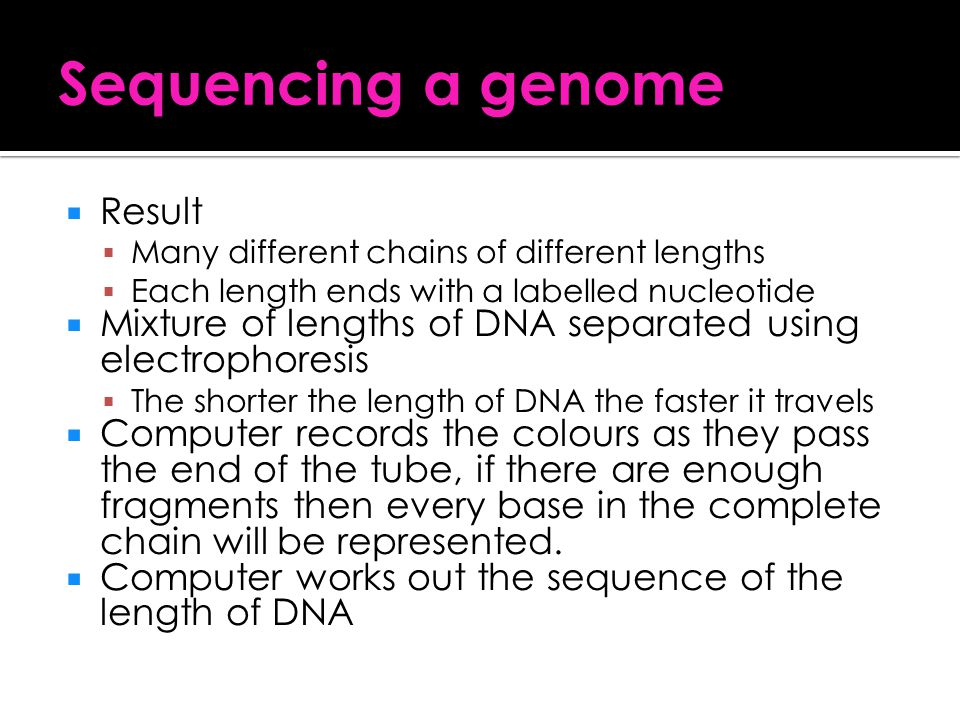 Sequencing a genome Result