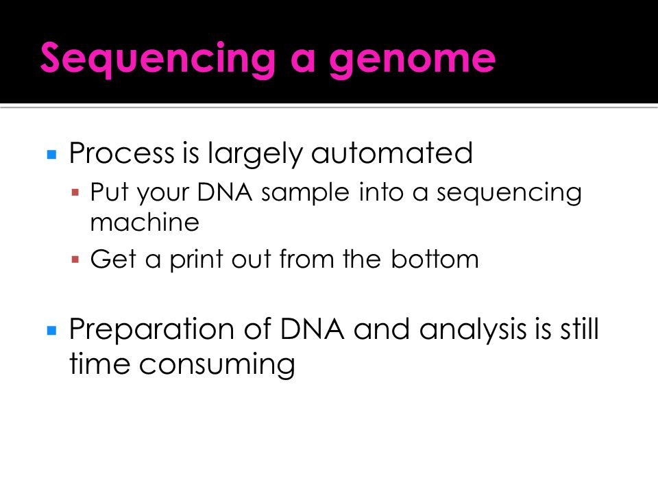 Sequencing a genome Process is largely automated
