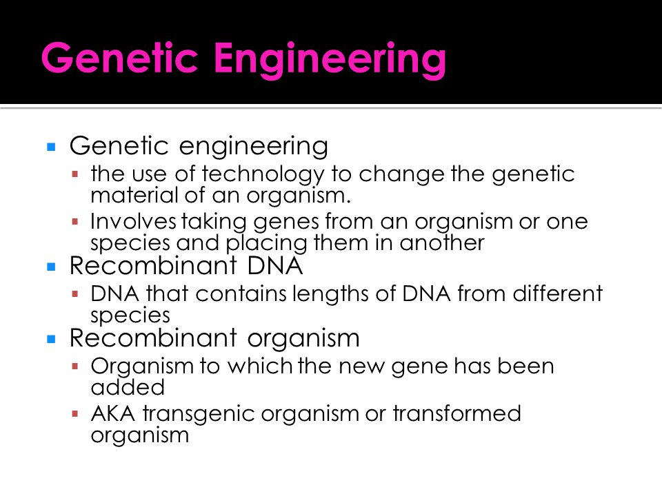 Genetic Engineering Genetic engineering Recombinant DNA