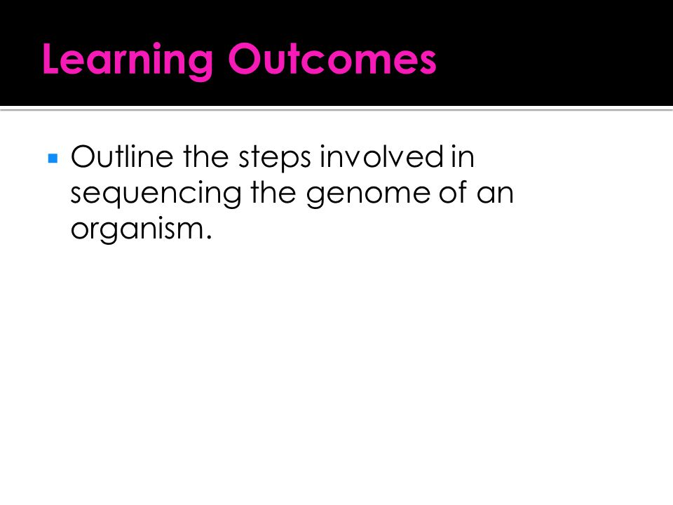 Learning Outcomes Outline the steps involved in sequencing the genome of an organism.