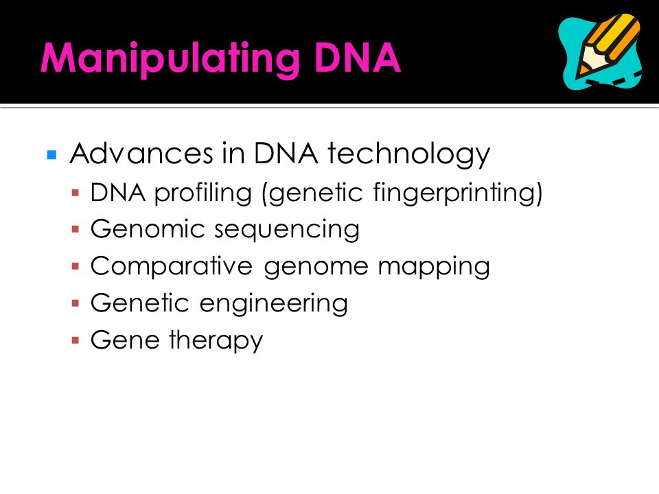 Manipulating DNA Advances in DNA technology