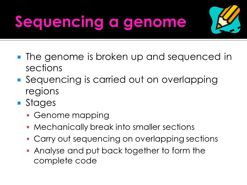 Sequencing a genome The genome is broken up and sequenced in sections