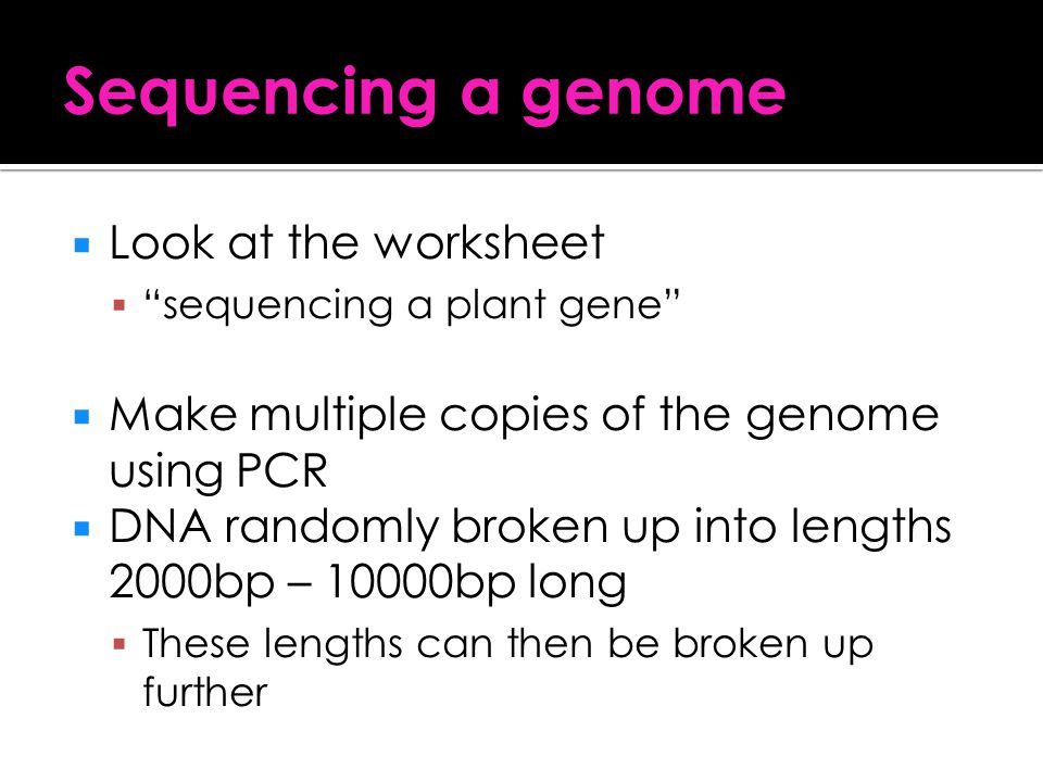 Sequencing a genome Look at the worksheet