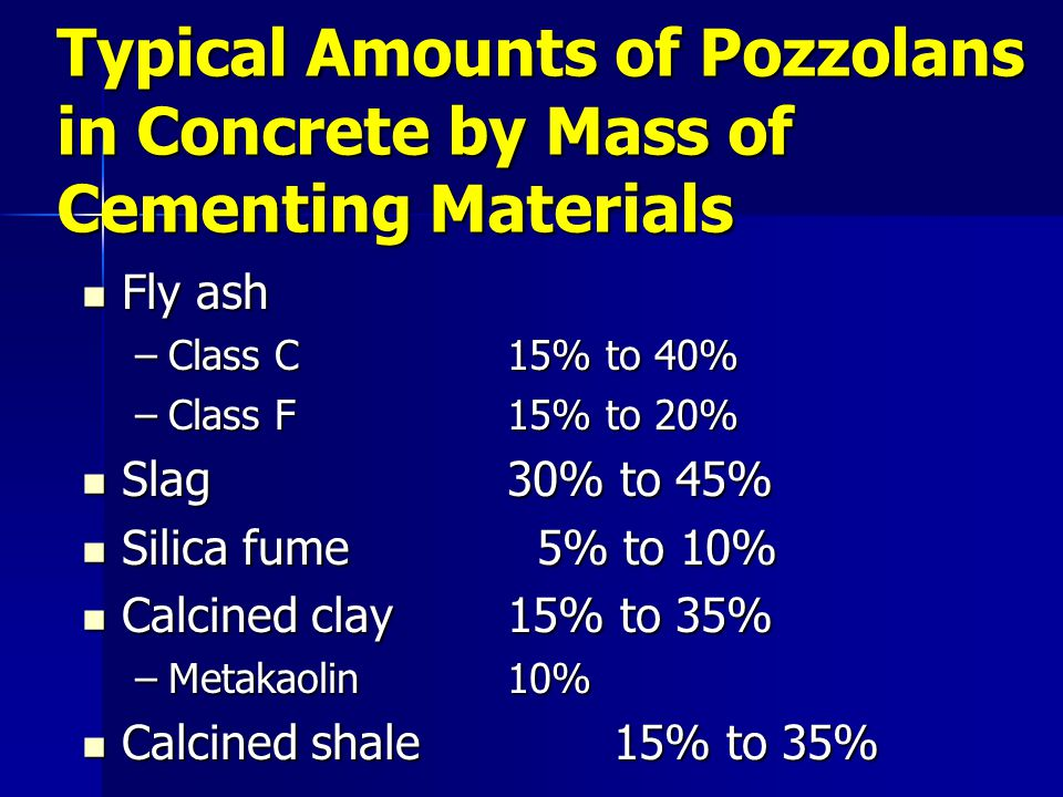 Typical Amounts of Pozzolans in Concrete by Mass of Cementing Materials