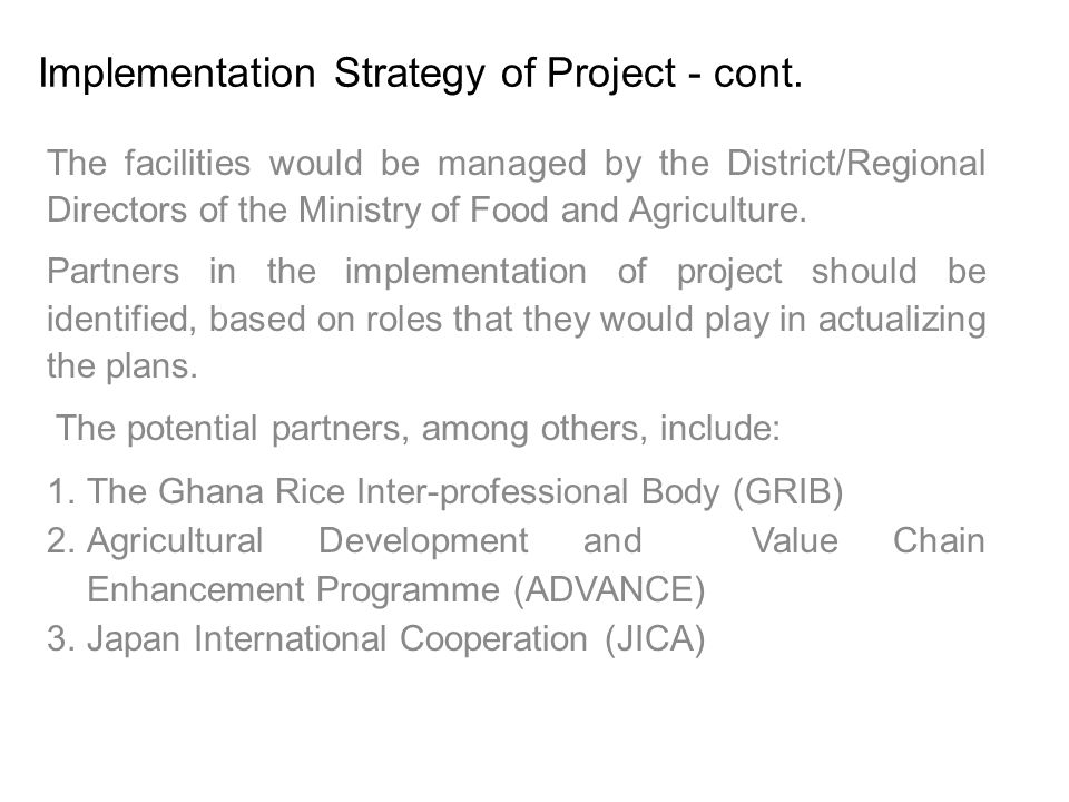 Implementation Strategy of Project - cont.