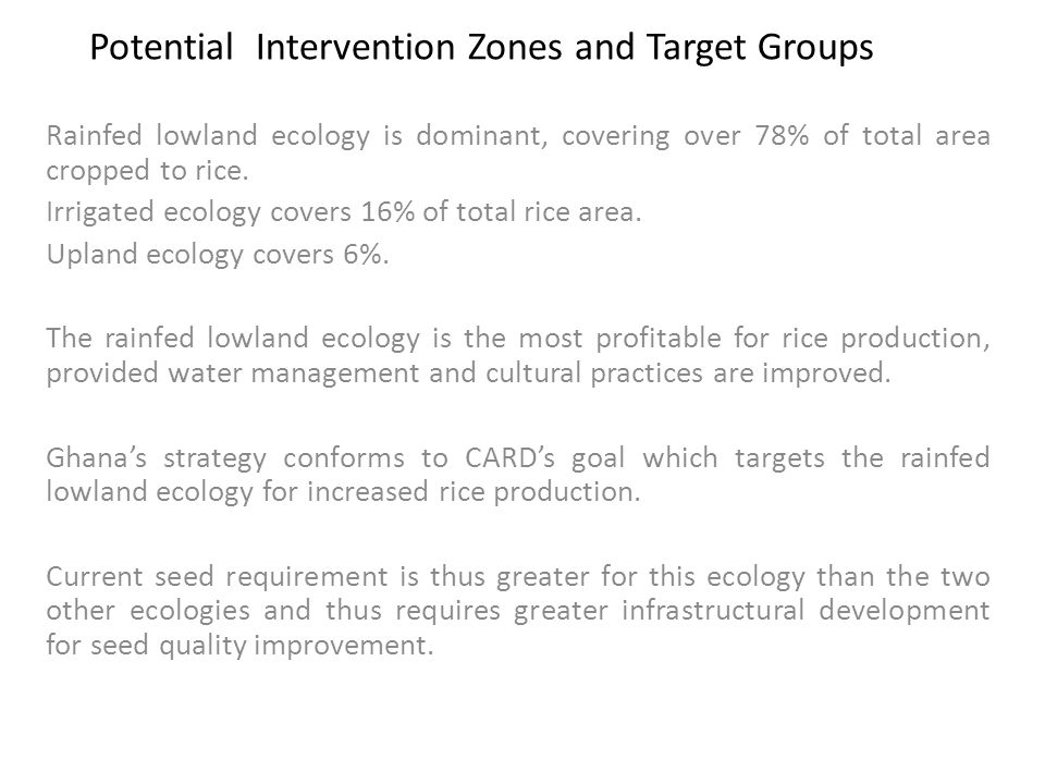Potential Intervention Zones and Target Groups