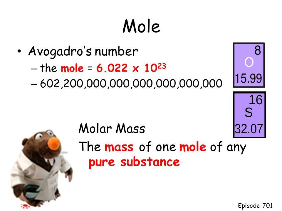Mole Avogadro's number Molar Mass