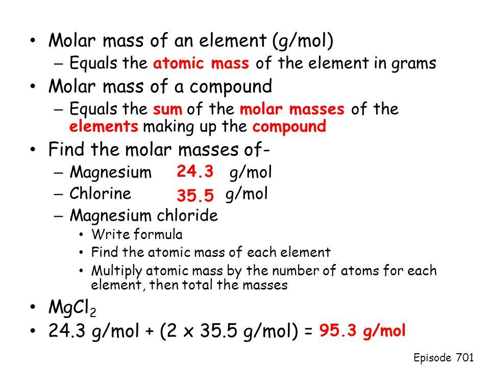 Molar mass of an element (g/mol) Molar mass of a compound