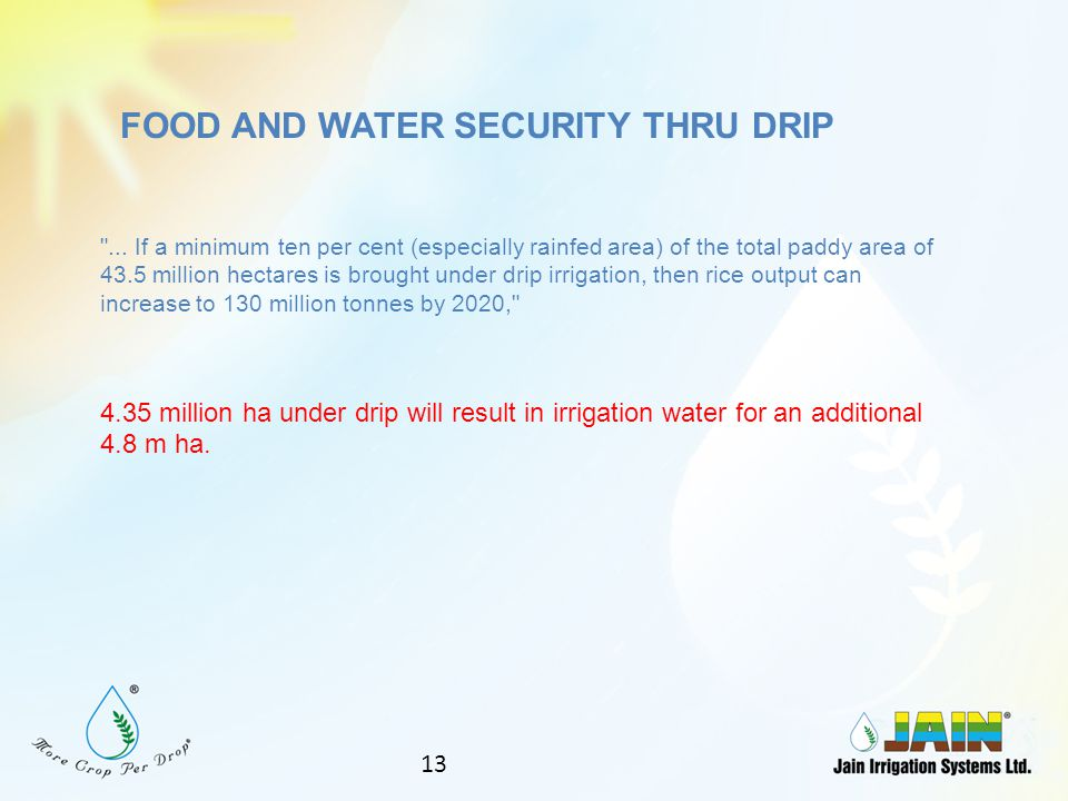 FOOD AND WATER SECURITY THRU DRIP