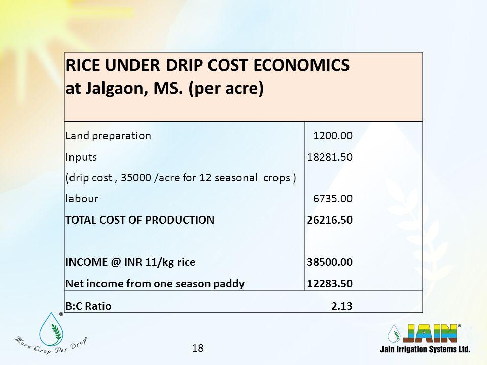 RICE UNDER DRIP COST ECONOMICS at Jalgaon, MS. (per acre)