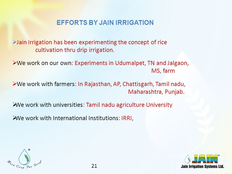 EFFORTS BY JAIN IRRIGATION
