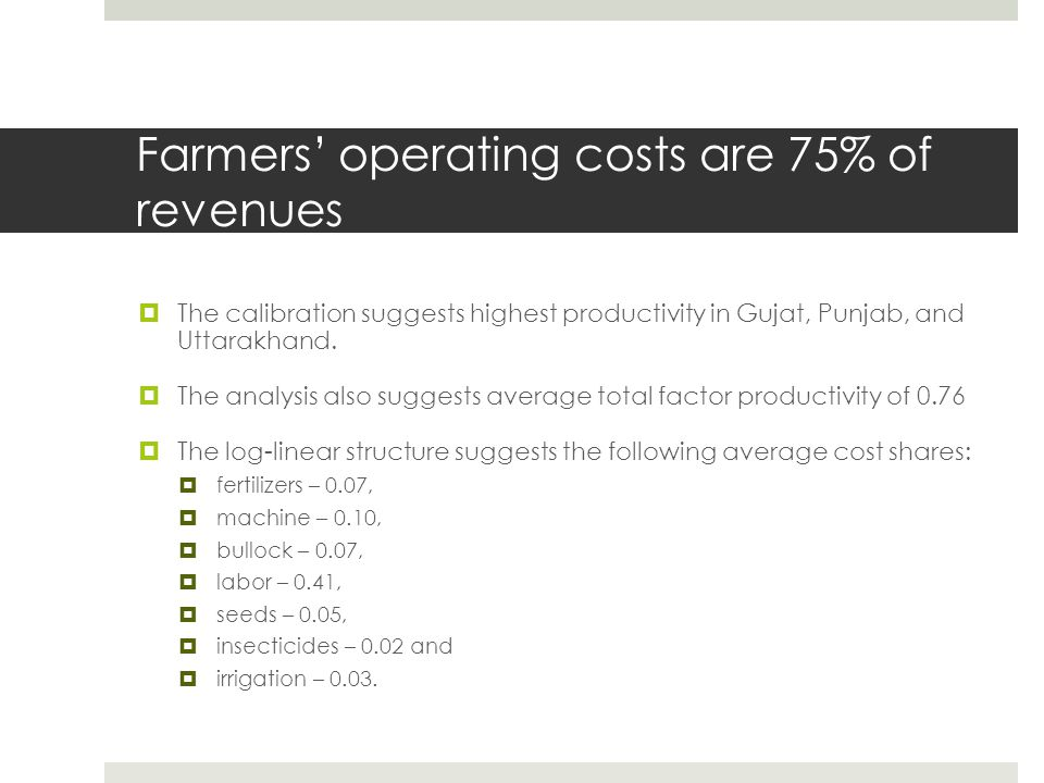 Farmers' operating costs are 75% of revenues