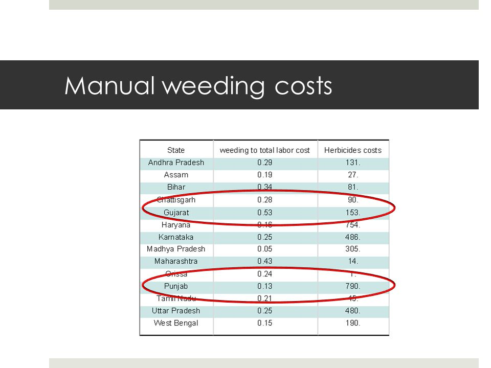 Manual weeding costs