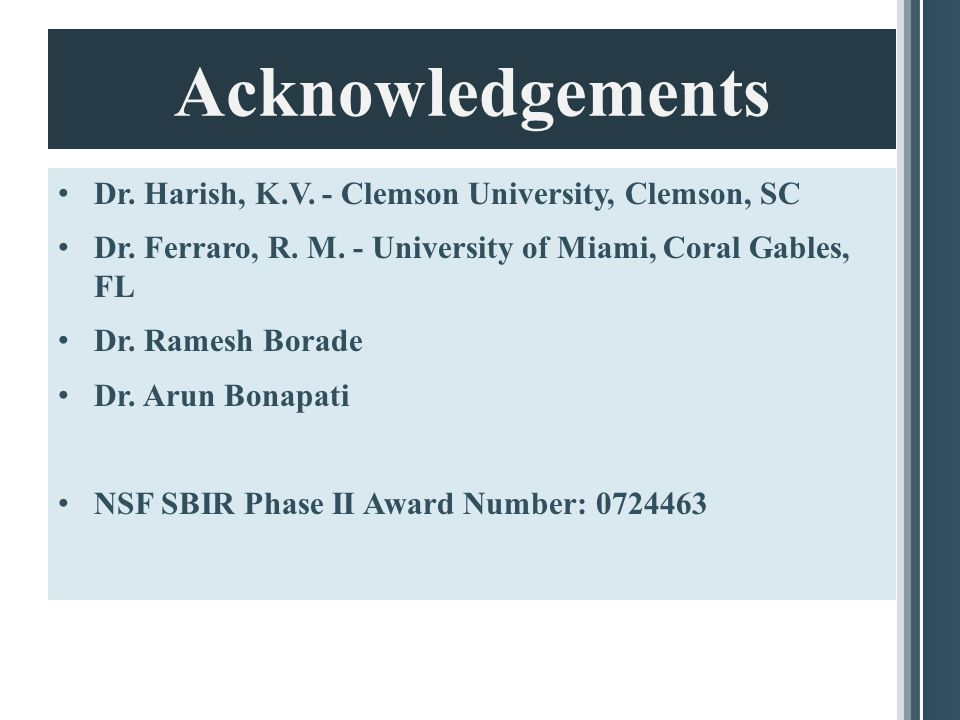 Acknowledgements Dr. Harish, K.V. - Clemson University, Clemson, SC