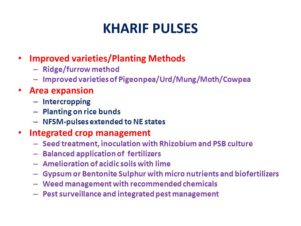KHARIF PULSES Improved varieties/Planting Methods Area expansion
