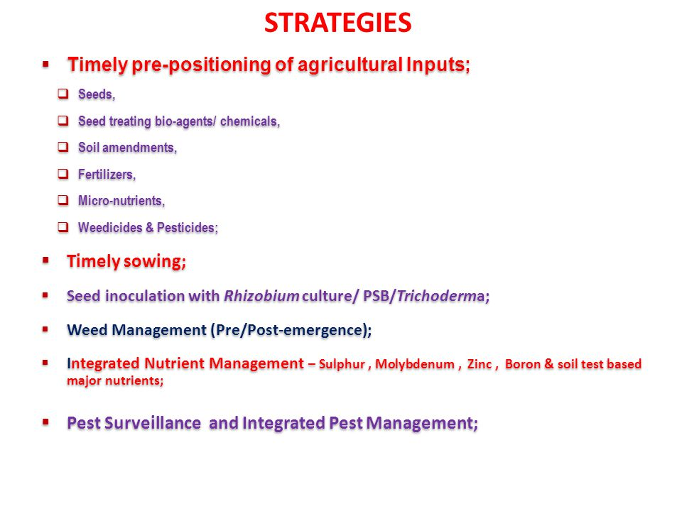 STRATEGIES Timely pre-positioning of agricultural Inputs;