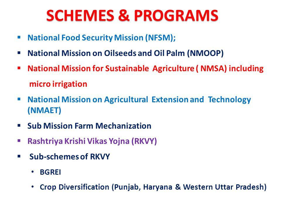 SCHEMES & PROGRAMS National Food Security Mission (NFSM);