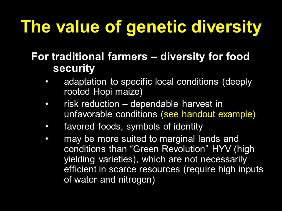 The value of genetic diversity