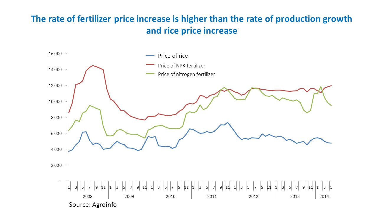 The rate of fertilizer price increase is higher than the rate of production growth and rice price increase
