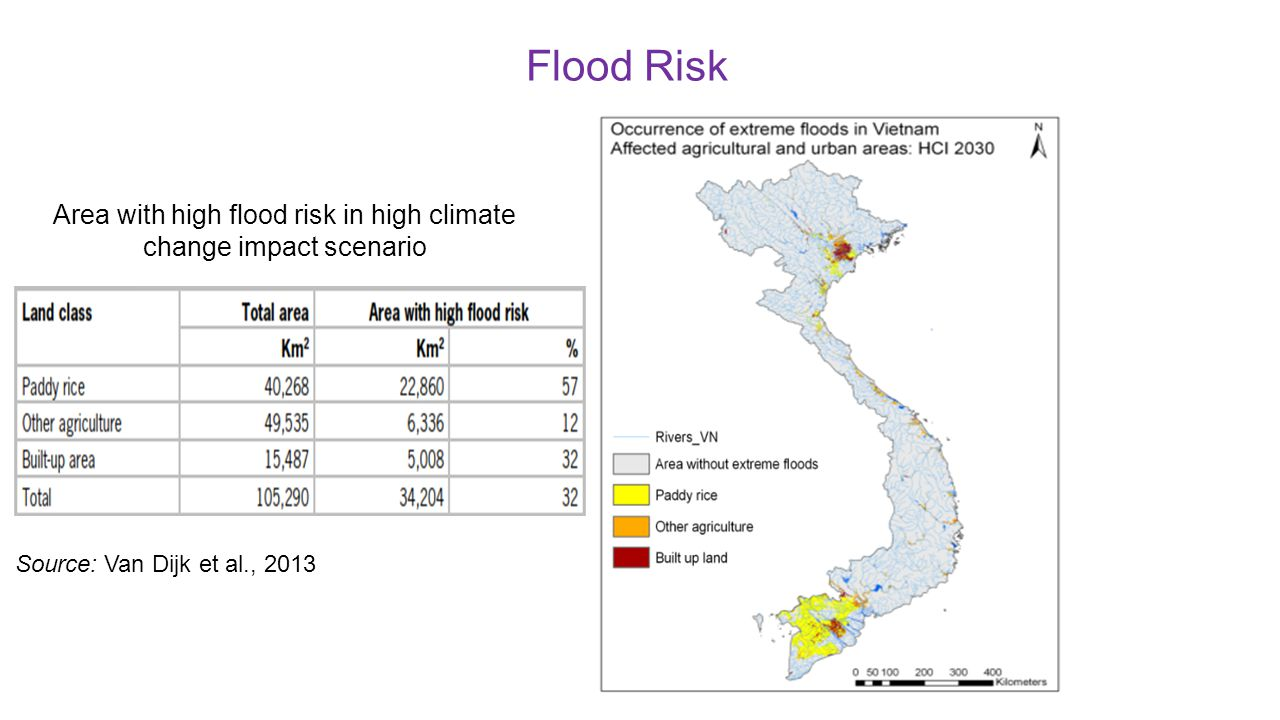 Area with high flood risk in high climate change impact scenario