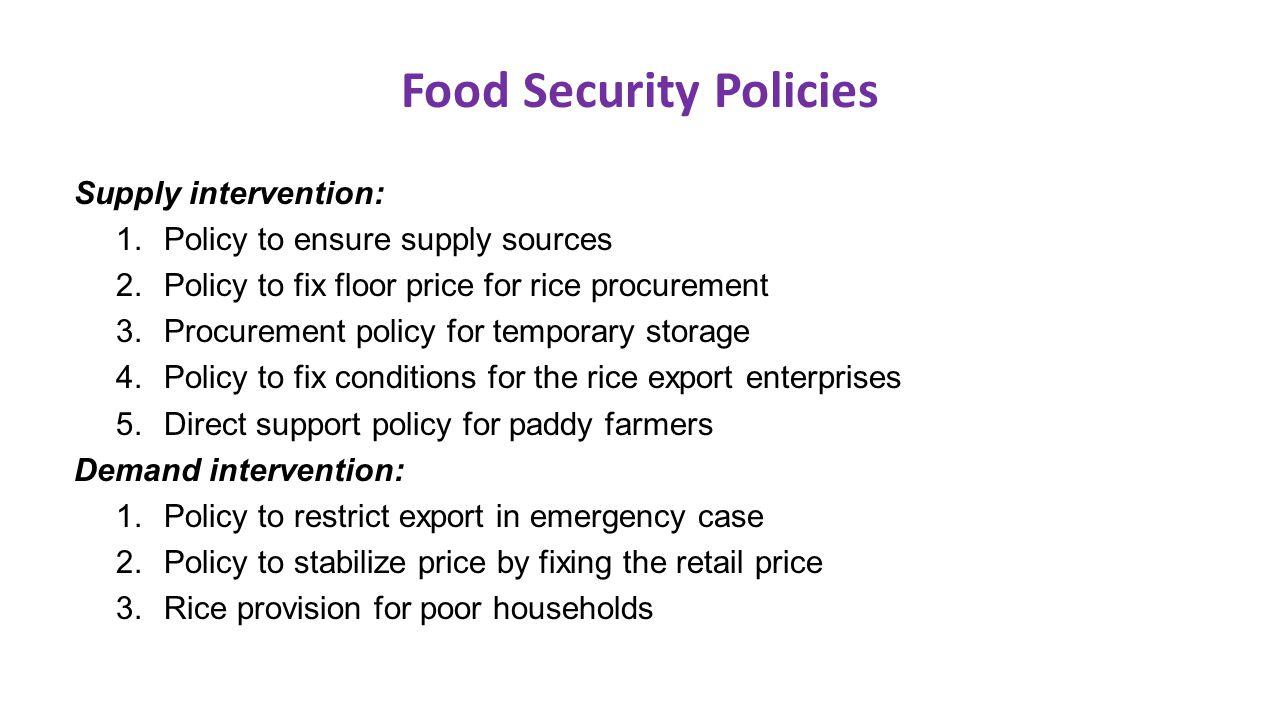 Food Security Policies