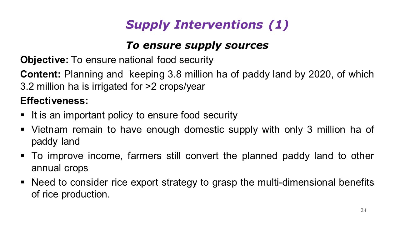 Supply Interventions (1) To ensure supply sources