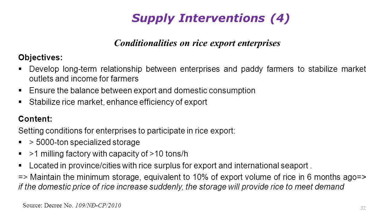 Conditionalities on rice export enterprises