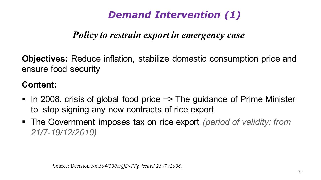Policy to restrain export in emergency case