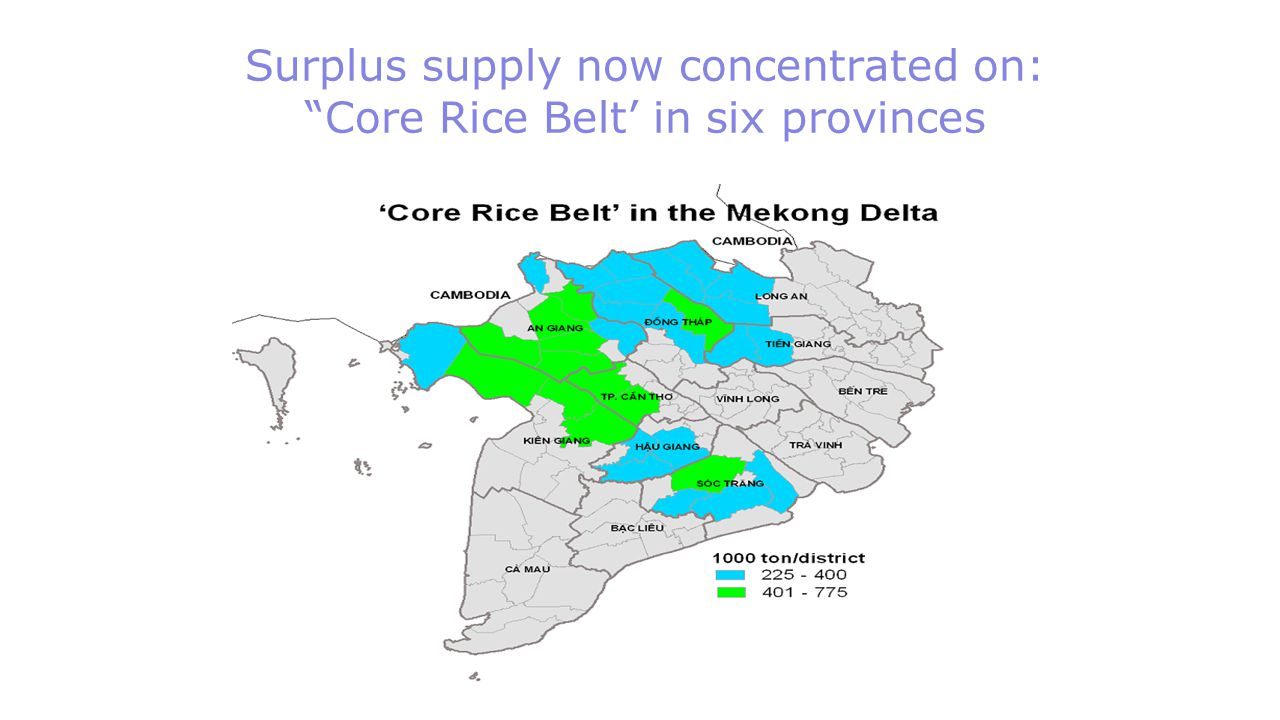 Surplus supply now concentrated on: Core Rice Belt' in six provinces