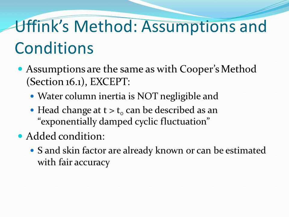 Uffink's Method: Assumptions and Conditions
