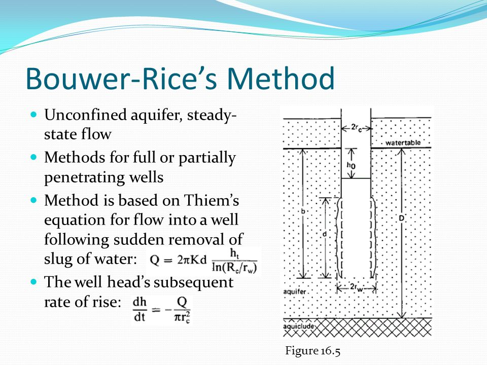 Bouwer-Rice's Method Unconfined aquifer, steady-state flow