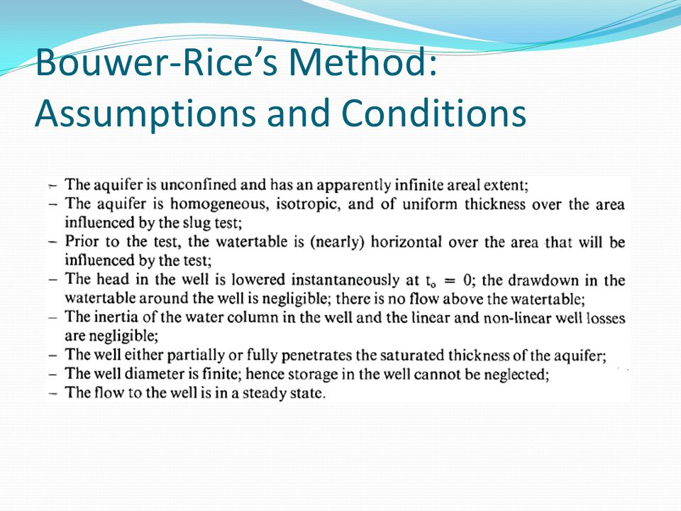 Bouwer-Rice's Method: Assumptions and Conditions
