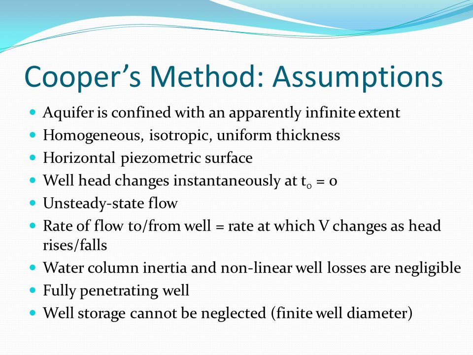 Cooper's Method: Assumptions