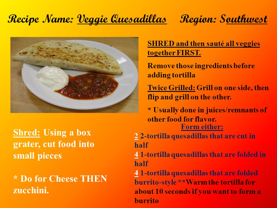 Recipe Name: Veggie Quesadillas Region: Southwest