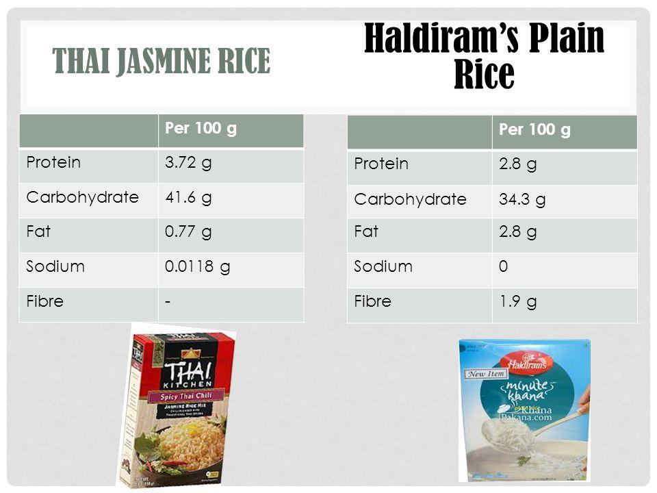 Haldiram's Plain Rice Thai Jasmine Rice Per 100 g Protein 3.72 g