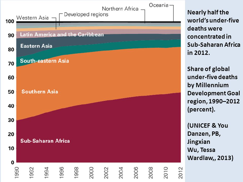 Nearly half the world's under-five deaths were concentrated in Sub-Saharan Africa in 2012.